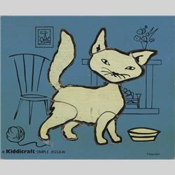 1963-1977 ~ 2-, 3-, 4-,5- & 6- Prefix Ref. No's - 5-157 Simple Jigsaw - No.4 Cat - Blue (9pcs) - http://www.hilarypagetoys.com