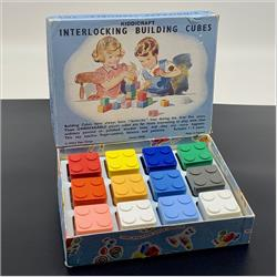 Interlocking Building Cubes - K280 Kiddicraft Interlocking Building Cubes -12 cubes - 1950 - http://www.hilarypagetoys.com