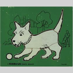 1932-1962 ~ K & F Prefix Ref. No's - K157 Simple Jigsaw - No.1 Dog - Dark Green (7pcs) - http://www.hilarypagetoys.com