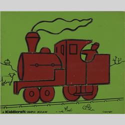 1932-1962 ~ K & F Prefix Ref. No's - K157 Simple Jigsaw - No.10 Engine (9pcs) Red on Green - http://www.hilarypagetoys.com