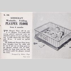 1932-1962 ~ K & F Prefix Ref. No's - K106 Playpen Floor - washable, folding - http://www.hilarypagetoys.com