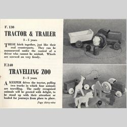 1932-1962 ~ K & F Prefix Ref. No's - F130 Forest Toys - Tractor & Trailer - http://www.hilarypagetoys.com