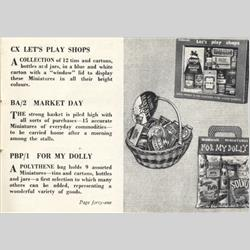 1932-1962 ~ K & F Prefix Ref. No's - CX Miniatures - Let's Play Shops - 12 tins, cartons, bottles & jars in a box - http://www.hilarypagetoys.com
