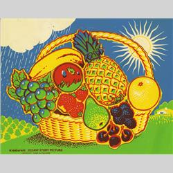 1963-1977 ~ 2-, 3-, 4-,5- & 6- Prefix Ref. No's - 5-159 Jigsaw Story Picture - No.4 Basket of Fruit (12 pieces) - http://www.hilarypagetoys.com