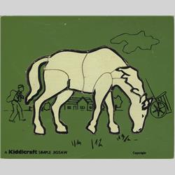 1963-1977 ~ 2-, 3-, 4-,5- & 6- Prefix Ref. No's - 5-157 Simple Jigsaw - No.9 Horse - Green (9pcs) - http://www.hilarypagetoys.com
