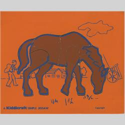 1963-1977 ~ 2-, 3-, 4-,5- & 6- Prefix Ref. No's - 5-157 Simple Jigsaw - No.9 Horse - Orange (9pcs) - http://www.hilarypagetoys.com