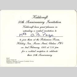 Oreline Page Documents - 1982 - 50th Anniversary Invitation - http://www.hilarypagetoys.com