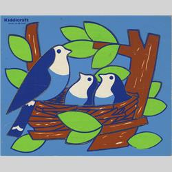 1963-1977 ~ 2-, 3-, 4-,5- & 6- Prefix Ref. No's - 5-154 Simple Jigsaw - Bird's Nest (12pcs) Dark Blue - http://www.hilarypagetoys.com